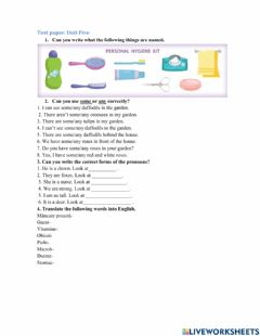 Interactive worksheet Test paper