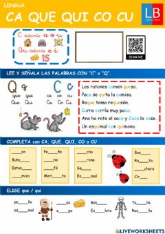 Interactive worksheet Ca que qui co cu