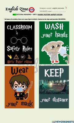 Ficha interactiva Harry potter safety rules in times of covid19