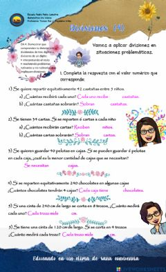 Interactive worksheet 6to- divisiones (5) PROBLEMAS