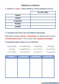 Interactive worksheet Prefijos in y des y verbos