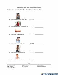 Interactive worksheet Give Advice: Common Health Problems