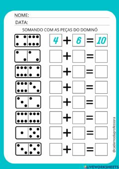 Interactive worksheet Somando com dominó