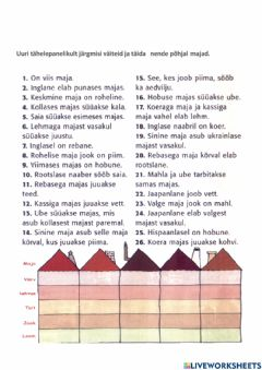 Interactive worksheet Viis maja