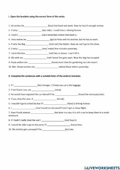 Interactive worksheet Wish- Conditionals Clauses