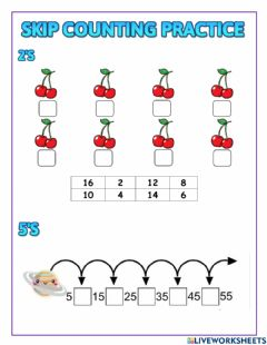 Ficha interactiva Skip counting by 2's, 5's and 10's
