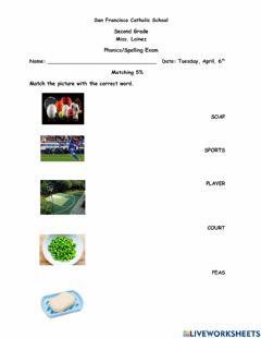 Interactive worksheet Phonics-Spelling Exam
