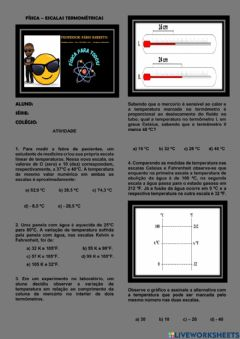 Interactive worksheet Escalas termométricas