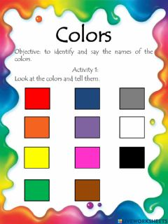Interactive worksheet Numbers and colors