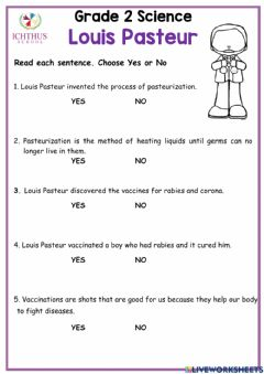 Interactive worksheet Louis pasteur