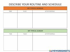 Interactive worksheet Routines and Schedules