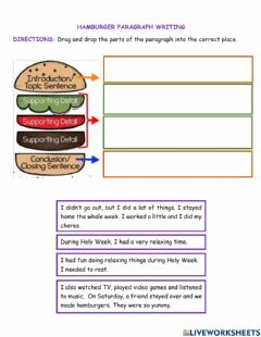 Interactive worksheet Hamburger paragraph writing