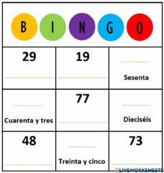 Interactive worksheet Bingo