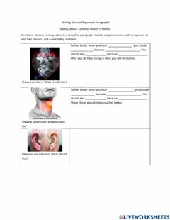 Interactive worksheet Write Opinion-Argument Paragraphs about Common Health Problems