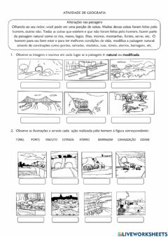 Interactive worksheet Paisagem natural ou modificada