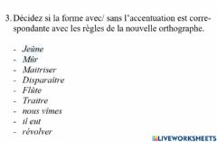 Interactive worksheet Nouvelle orthographe