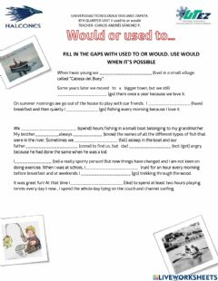 Interactive worksheet 8th used to or would