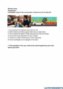 Interactive worksheet Good and bad experiences.