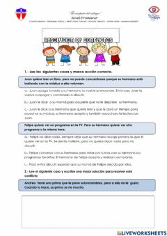 Interactive worksheet Resolucion de conflictos