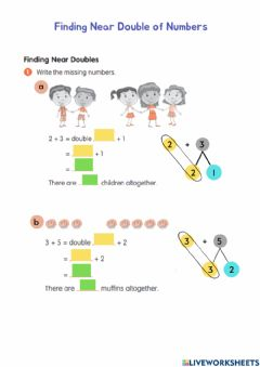 Interactive worksheet Finding Near Double of Numbers