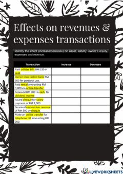 Ficha interactiva Chapter 3 - Accounting Effects on Other Transactions