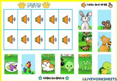 Ficha interactiva Pets Puzzle (Listen and drag)