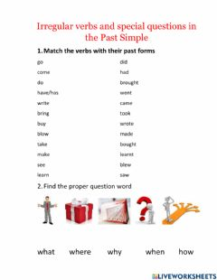 Ficha interactiva Specal questions in the Past Simple