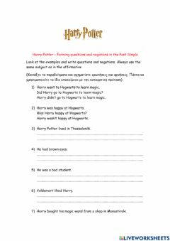 Interactive worksheet Simple Past  - Questions and Negations