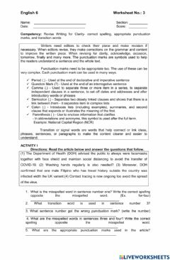 Interactive worksheet Revise Writing for Clarity