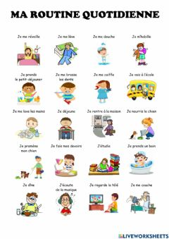 Interactive worksheet Ma routine quotidienne