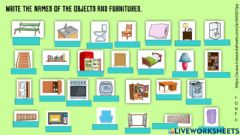 Interactive worksheet Furniture and house objects