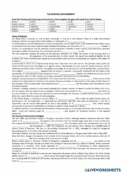 Interactive worksheet Forms of Business