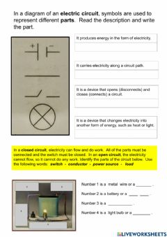 Interactive worksheet Parts of an electric circuit