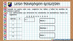 Interactive worksheet Medidas de tendencia central