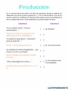 Interactive worksheet Puntos y puntos suspensivos
