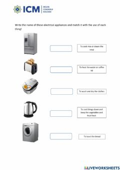 Ficha interactiva Uses of electrical appliances