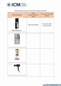 Ficha interactiva The uses of electrical appliances at home and school