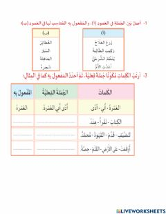 Interactive worksheet المفعول به