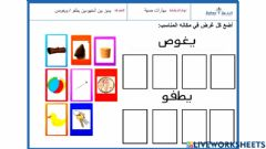 Interactive worksheet مهارات حسية1