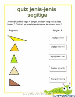 Interactive worksheet Quiz jenis-jenis segitiga