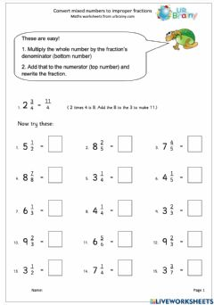 Interactive worksheet Converting Mixed Numbers to Improper Fraction