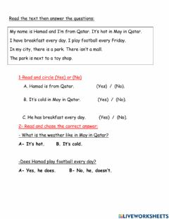 Interactive worksheet Reads and answer