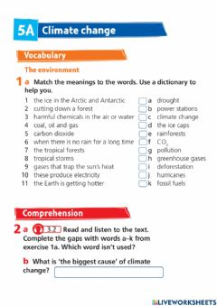 Interactive worksheet Project 4 - Unit 5A - Climate change