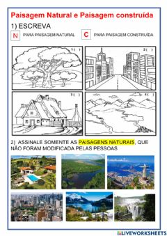 Interactive worksheet Paisagem natural e cultural