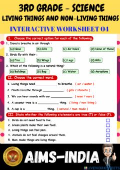 Interactive worksheet 3rd-science-ps04-living things & non living things