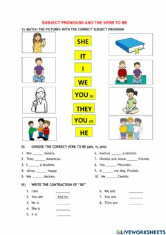 Interactive worksheet Present Tense Verb to be