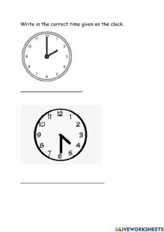 Interactive worksheet Difference between Hour and Half Past