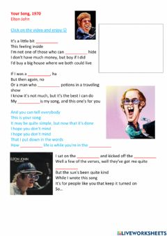 Interactive worksheet Your song