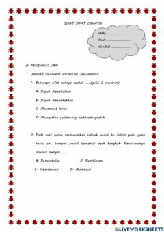 Interactive worksheet Sifat cahaya
