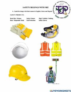 Interactive worksheet Safety Equipment in Constructions
